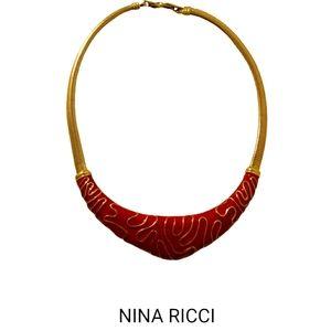 Vtg 80s Nina Ricci lipstick red bib necklace